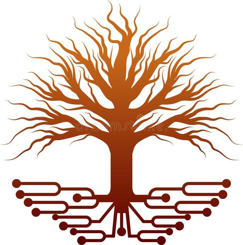 Circuit tree logo vector illustration