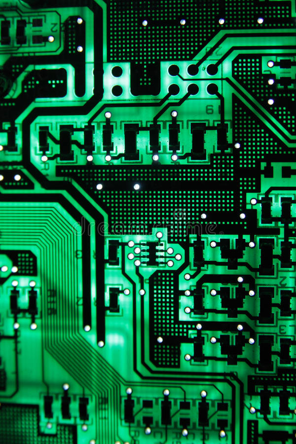 Circuit4. The Green PCB on the lighting stock photography