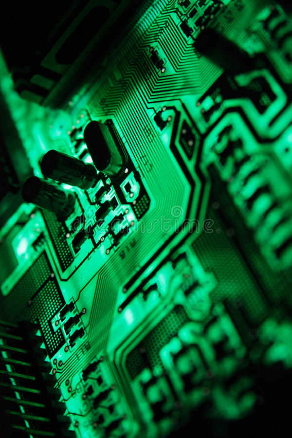 Circuit5. The Green PCB on the lighting royalty free stock photo