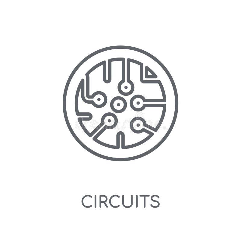 Circuita o ícone linear O esboço moderno circuita o conceito do logotipo no wh ilustração royalty free