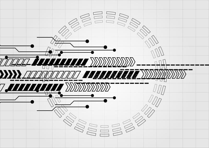 Circuito abstracto con la flecha en fondo de la tecnología de la rejilla illus ilustración del vector