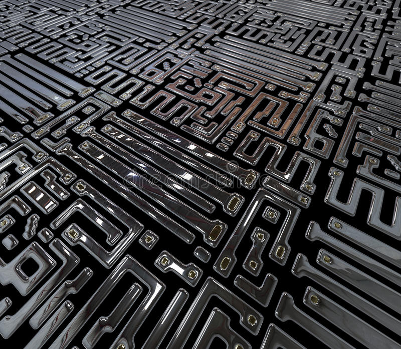 Circuito abstracto dentro del microchip stock de ilustración