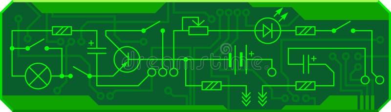 Circuito bonde da resistência de rádio do dispositivo, transistor, diodo, capacitor, indutor Fundo do vetor ilustração royalty free