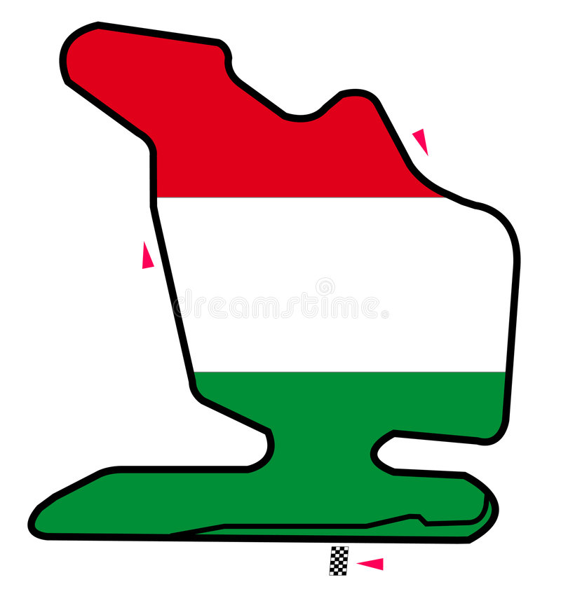 Circuito de Hungria: Fórmula 1 ilustração stock