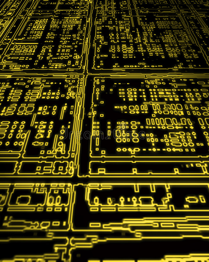 Circuito de la electrónica que brilla intensamente   ilustración del vector