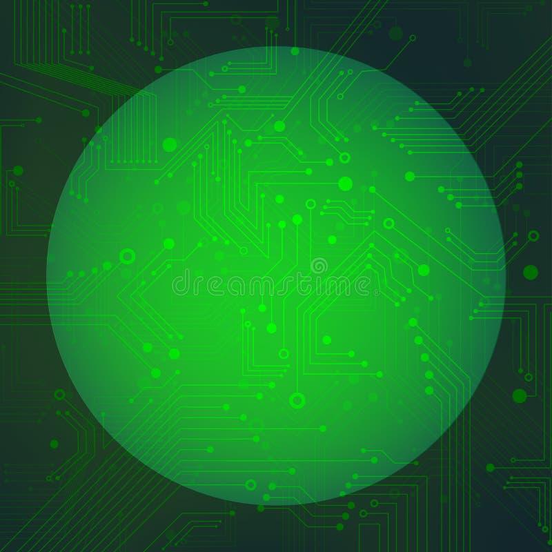 Circuito de la esfera sobre vector verde del fondo stock de ilustración