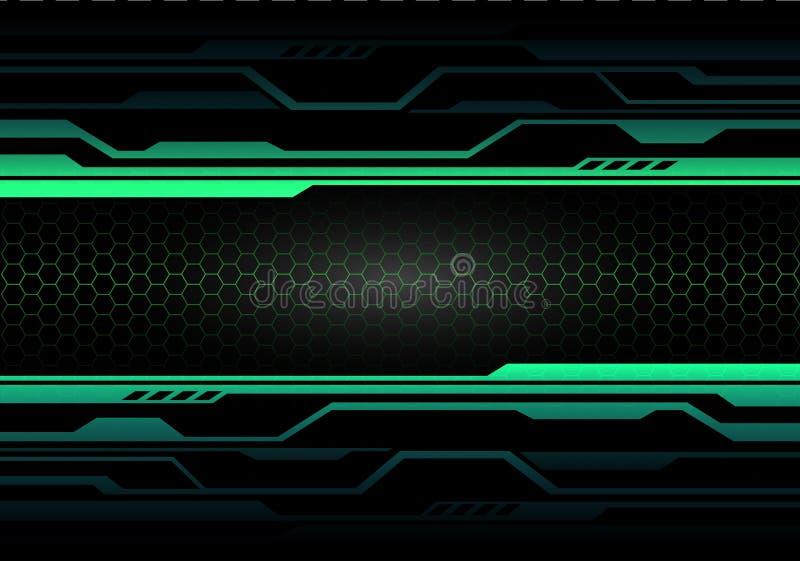 Circuito di luce verde astratto sul nero con il vettore futuristico moderno del fondo di tecnologia di progettazione della maglia royalty illustrazione gratis