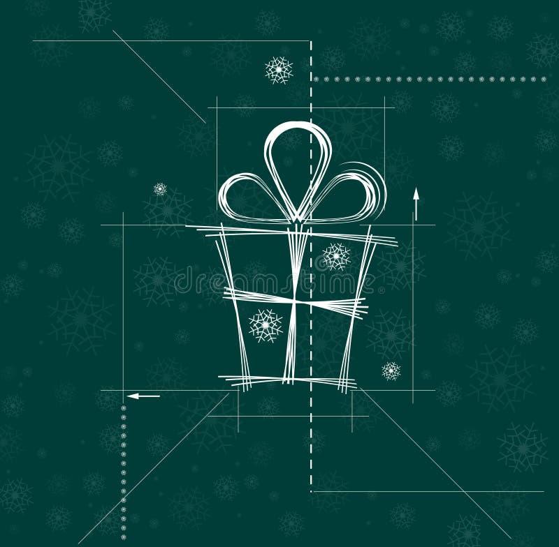 Circuito do Natal e do presente do ano novo feliz ilustração stock