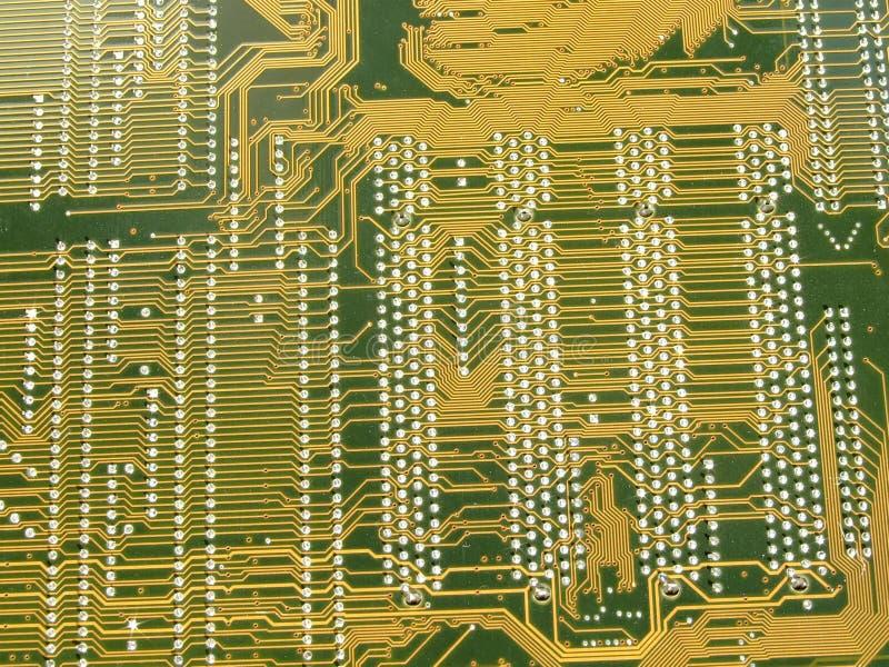 circuito dorato della scheda madre fotografia stock