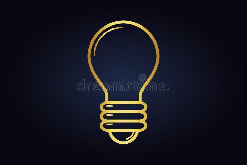 Circuito dorato di vettore della lampadina Lampadina isolata su fondo scuro illustrazione vettoriale