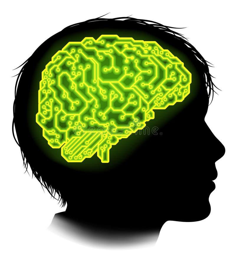 Circuito eléctrico Brain Child Concept stock de ilustración
