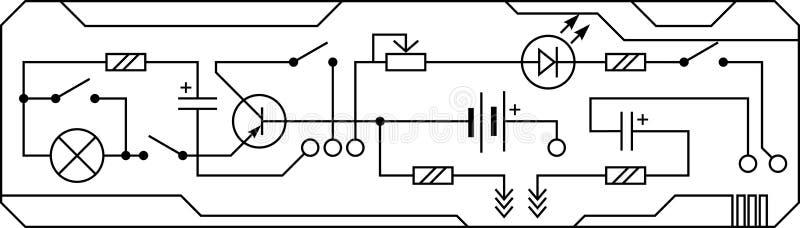 Circuito eléctrico de la resistencia de radio del dispositivo, transistor, diodo, condensador, inductor stock de ilustración
