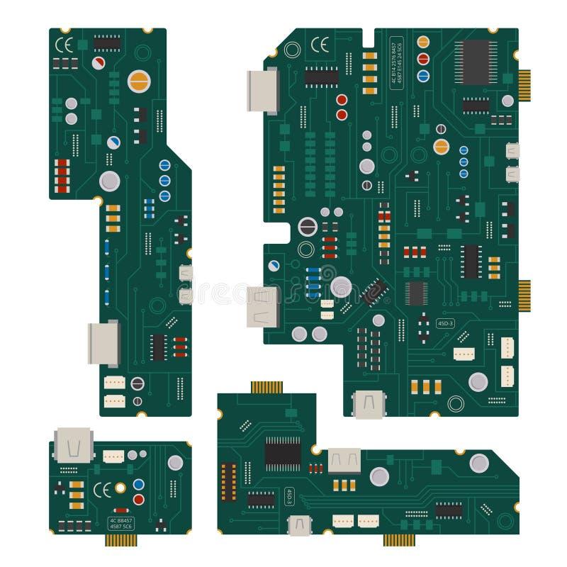 Circuito electrónico Tablero de madre del ordenador con los diodos y otros componentes ilustración del vector