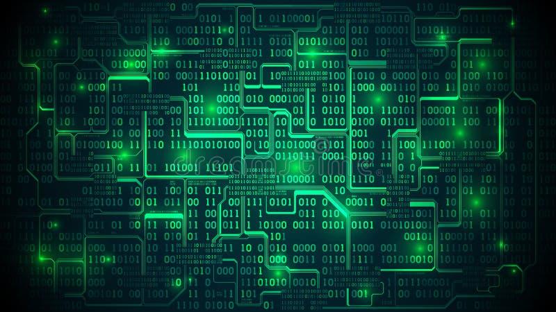 Circuito elettronico futuristico astratto con il codice binario, m. royalty illustrazione gratis