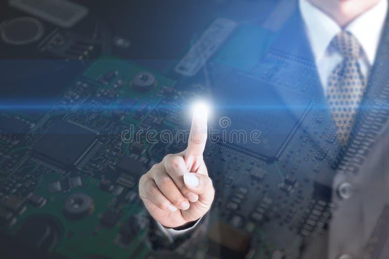 Circuito elettronico Nick del fondo di schermo del metallo del touch screen dell'uomo d'affari fotografia stock