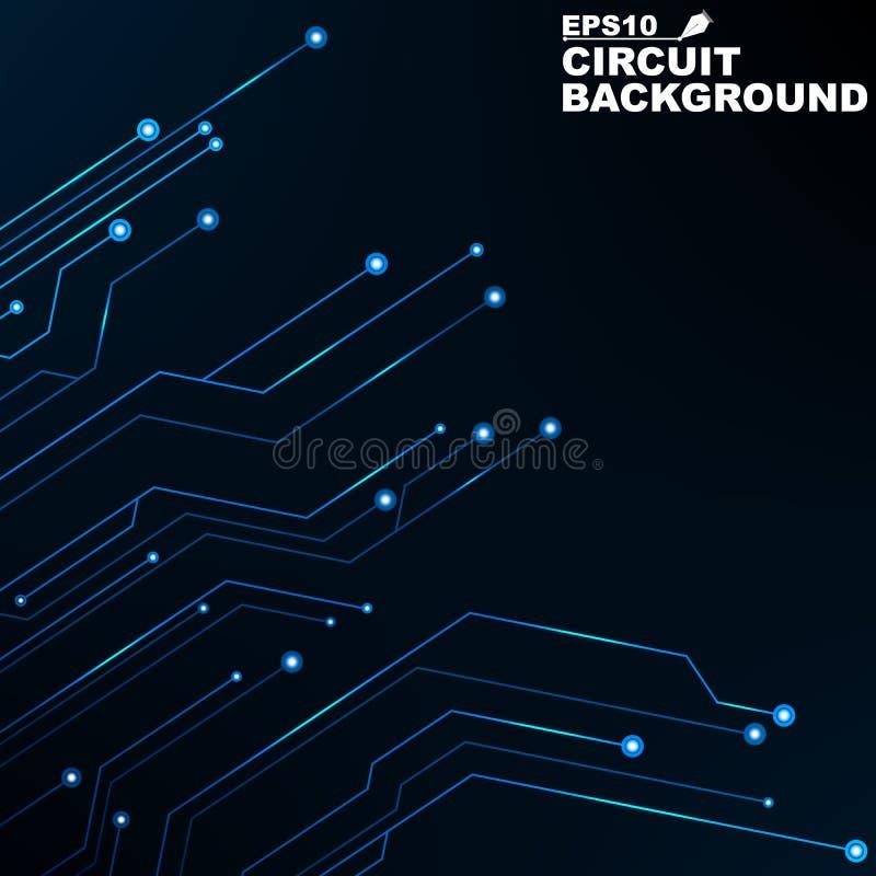circuito Fondo abstracto negro de la tecnología digital Nuevas tecnologías en diseño Red de ordenadores Líneas de neón azules, qu ilustración del vector