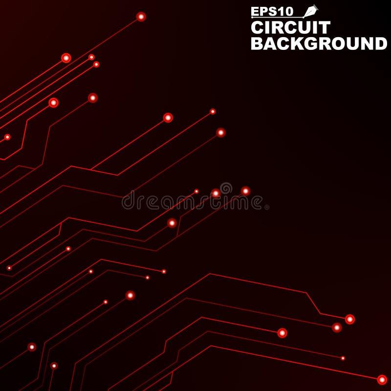 circuito Fundo abstrato preto da tecnologia digital Novas tecnologias no projeto Rede informática Linhas de néon vermelhas, incan ilustração stock