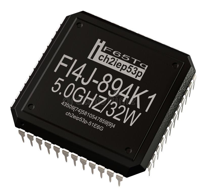 Circuito integrado del microprocesador digital en piezas del ordenador Aislado imagenes de archivo