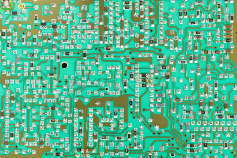 Circuito integrado, microplaqueta, cir, tiro verde do close-up do PWB fotografia de stock royalty free