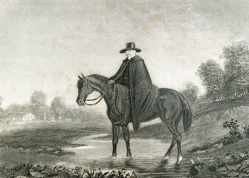 Circuito Rider Clergy Traveling Preacher a caballo ilustración del vector