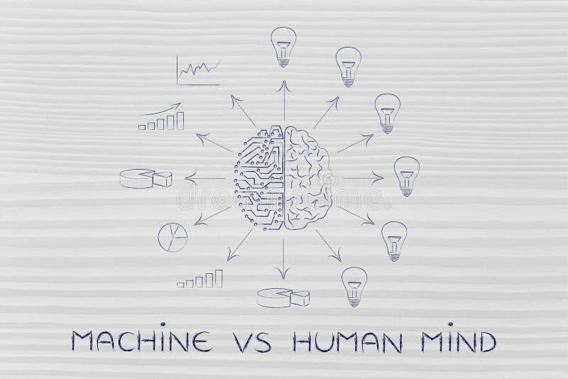 Circuitos & cérebro que criam os dados processados contra ideias, máquina contra o MI ilustração stock