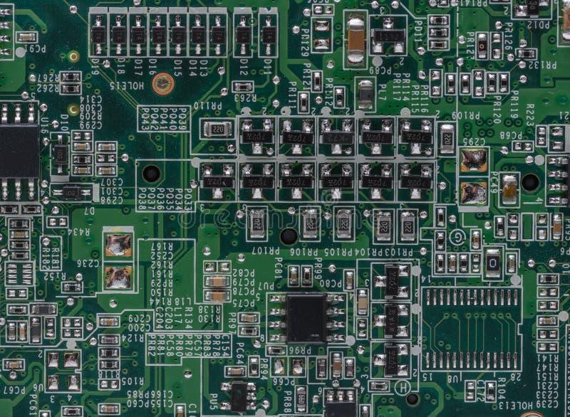 Circuitos dentro do laptop fotografia de stock royalty free