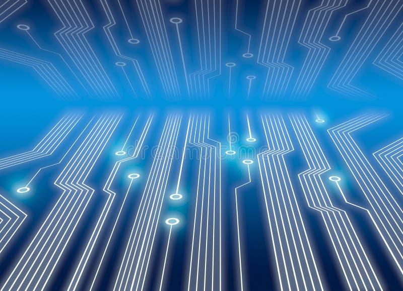 Circuitos electrónicos en azul ilustración del vector