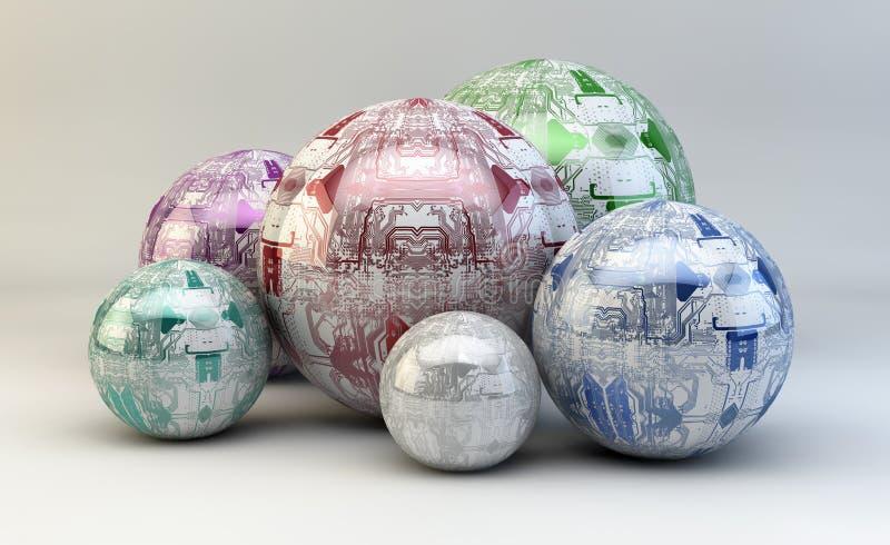 Circuitos em esferas ilustração do vetor