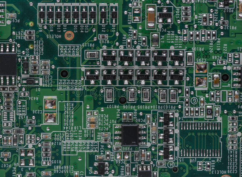 Circuits à l'intérieur d'ordinateur portable photographie stock libre de droits