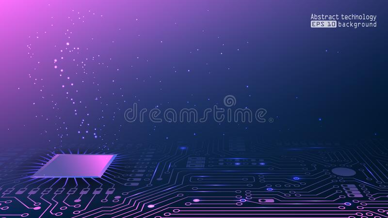 Circuits électroniques Réseau social Puces avec le code binaire Fond technologique pourpre Réseau informatique et puces illustration libre de droits