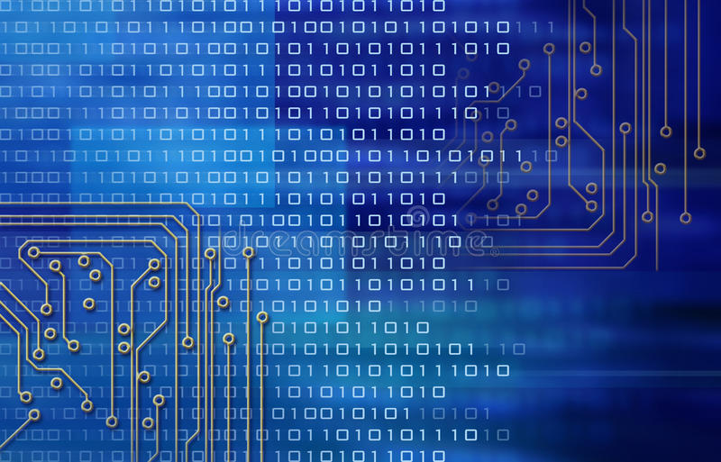 Circuits and binary code stock illustration