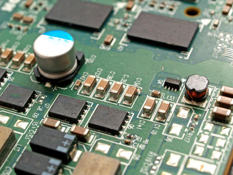 Electronic board components and circuits stock photography