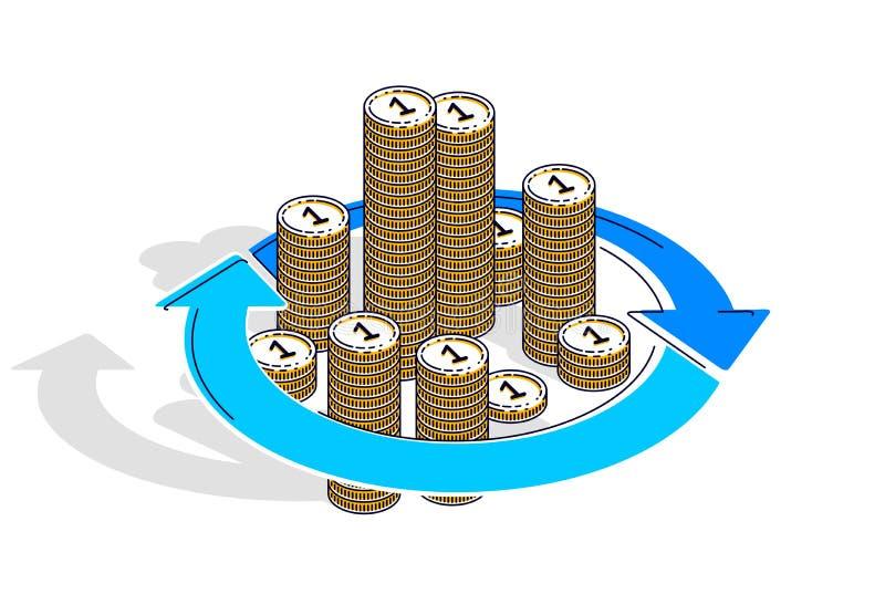 Circulação do dinheiro, retorno sobre o investimento, troca de moeda, dinheiro ilustração royalty free