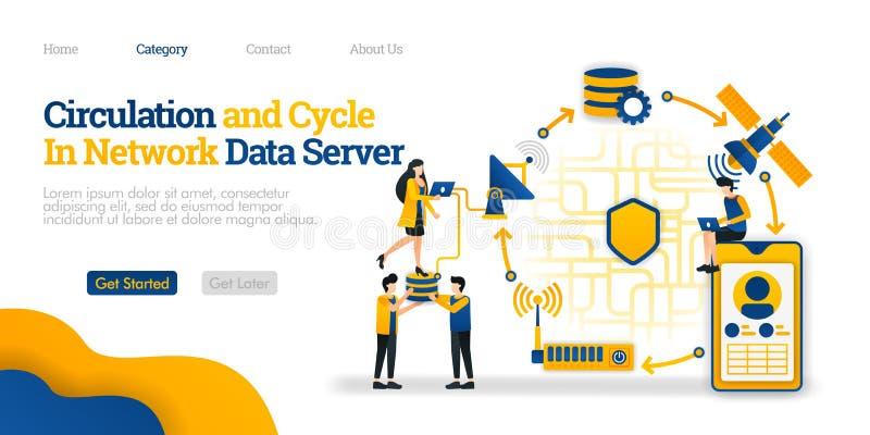 Circulação e ciclo no servidor de dados vista geral de dados de uma comunicação da rede de um telefone Conceito liso da ilustraçã ilustração do vetor