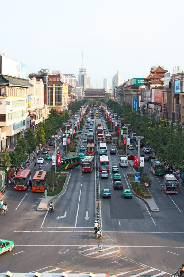 Circulación densa en Xi'an, China imagenes de archivo