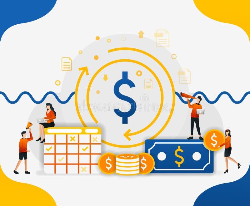 Circulación en el sistema financiero global circulación del dinero en la aceleración de la economía, ejemplo del vector del conce stock de ilustración