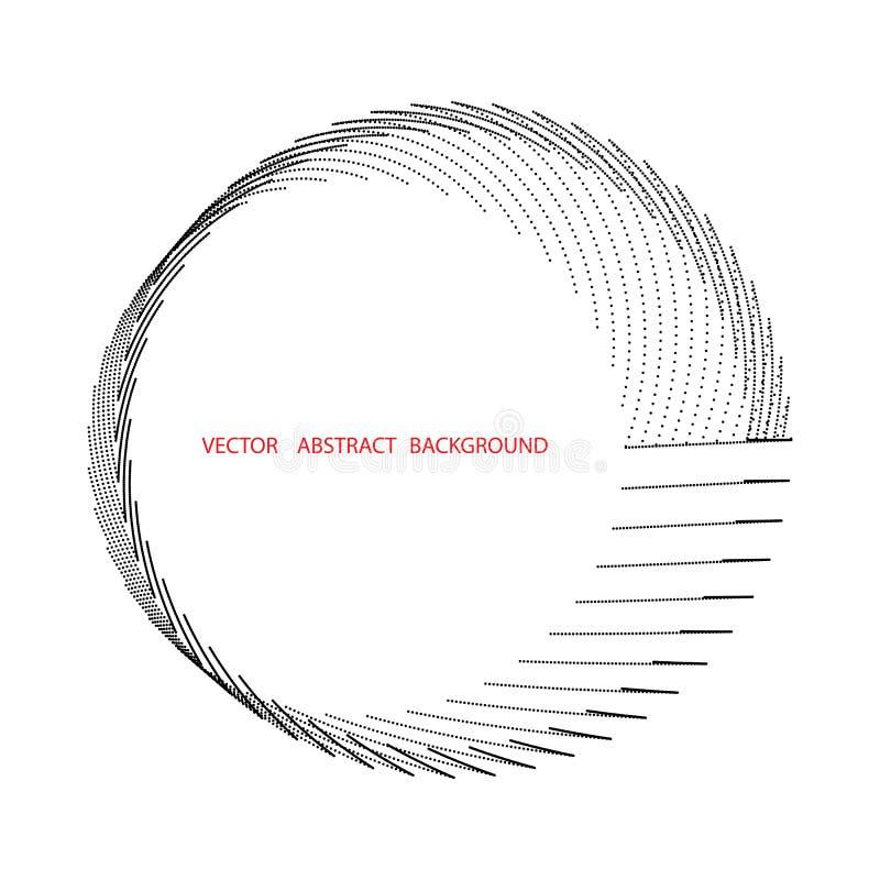Circulación, línea del círculo y punto concéntricos Línea del vórtice y fondo abstractos del punto ilustración del vector