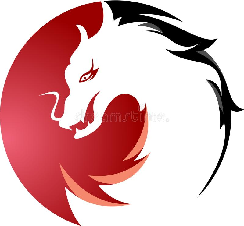 Circulaire courante de dragon de logo photo stock