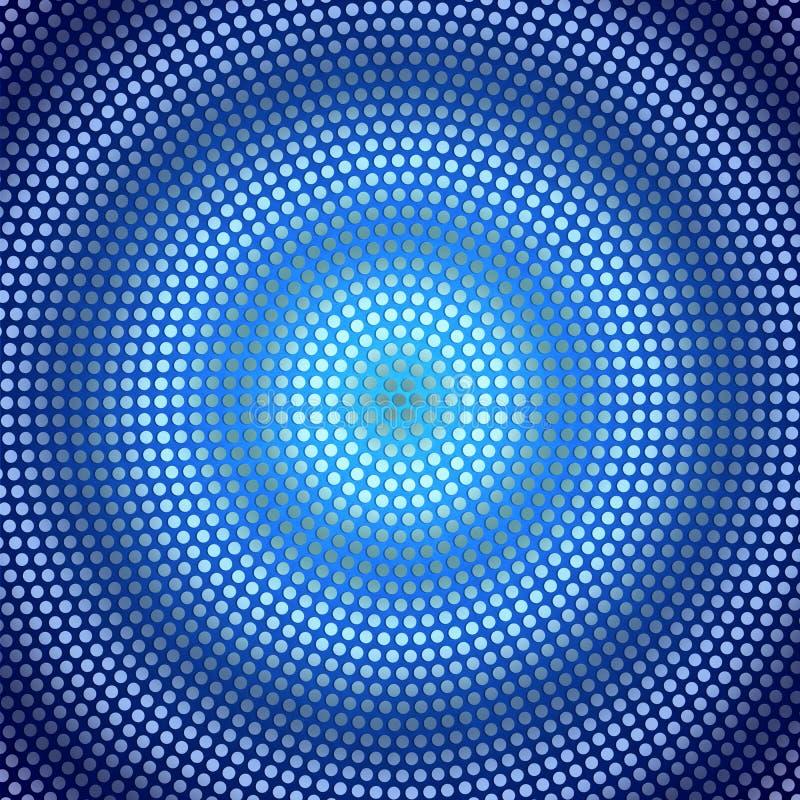 Circulaire de résumé Dots Pattern brillant à l'arrière-plan bleu-foncé gradué illustration de vecteur