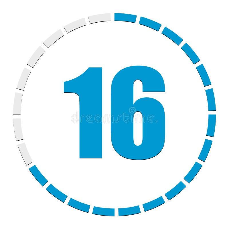Circulaire grafiek, grafiek Voortgang, voltooiing, stapindicator Afbeelding van 1-24 secties Gesegmenteerde cirkel als duur, volg stock illustratie