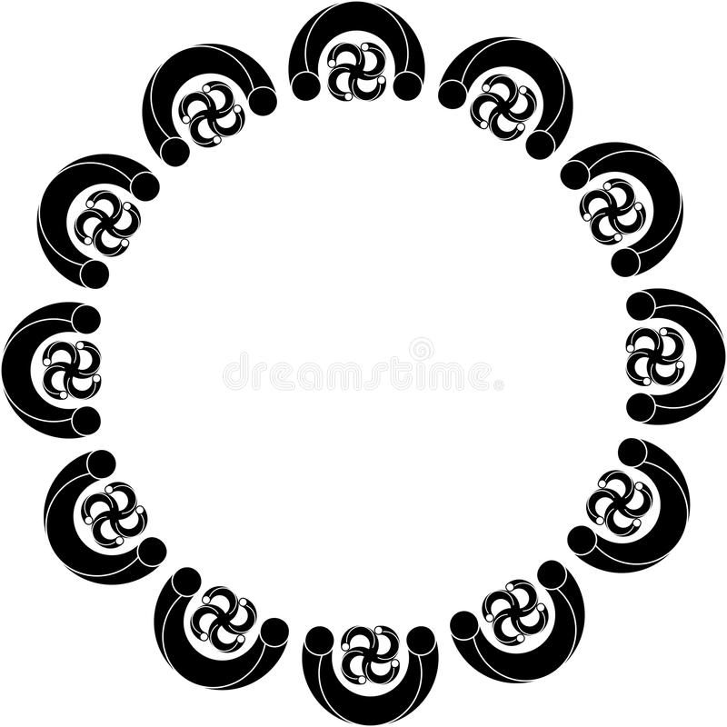 Circular abstract design with curved objects royalty free stock image