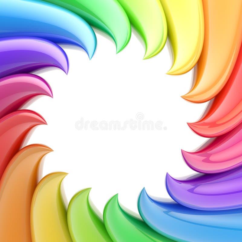 Circular abstract frame made of wavy elements royalty free illustration