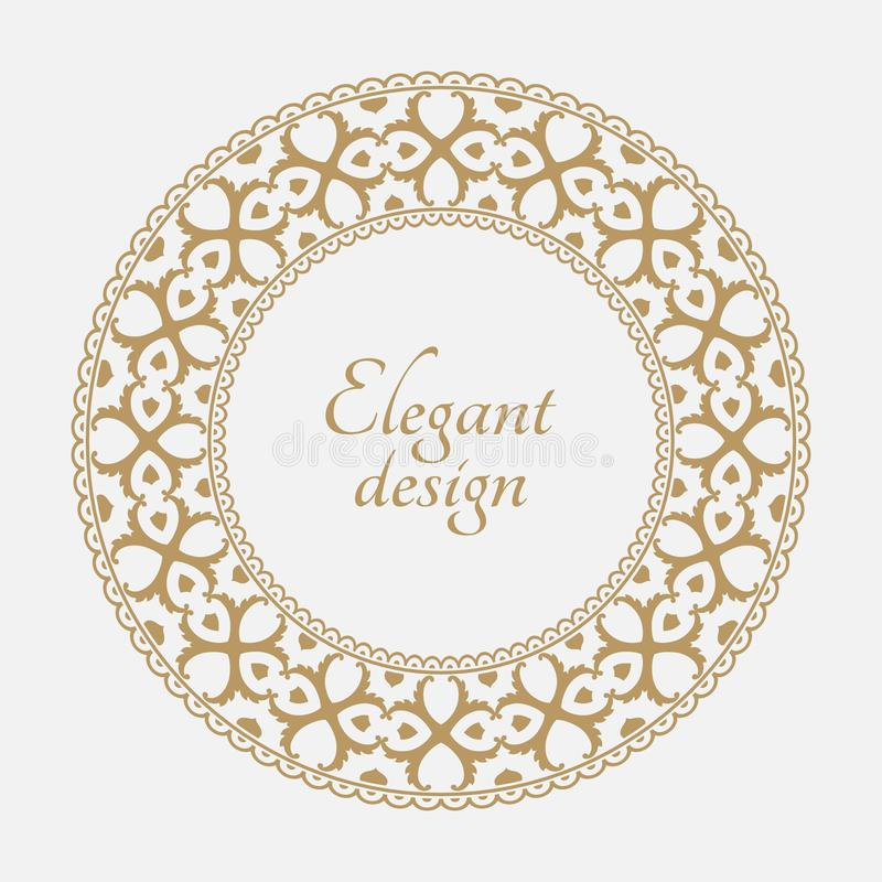 Round baroque ornament. Circular arabic pattern. Round baroque ornament. Vintage frame. Greeting card. Wedding invitation. Retro style. Vector logo template royalty free illustration