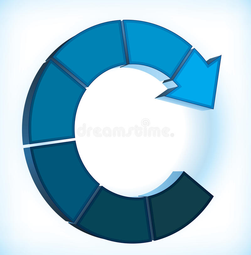 Circular arrow diagram. Cyclic diagram with an arrow and place for different elements vector illustration