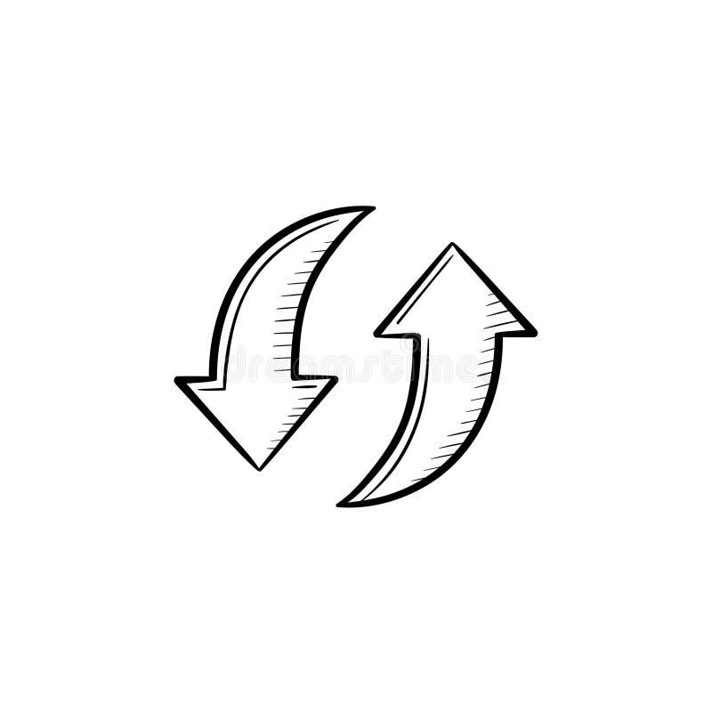 Circular arrows hand drawn sketch icon. stock illustration