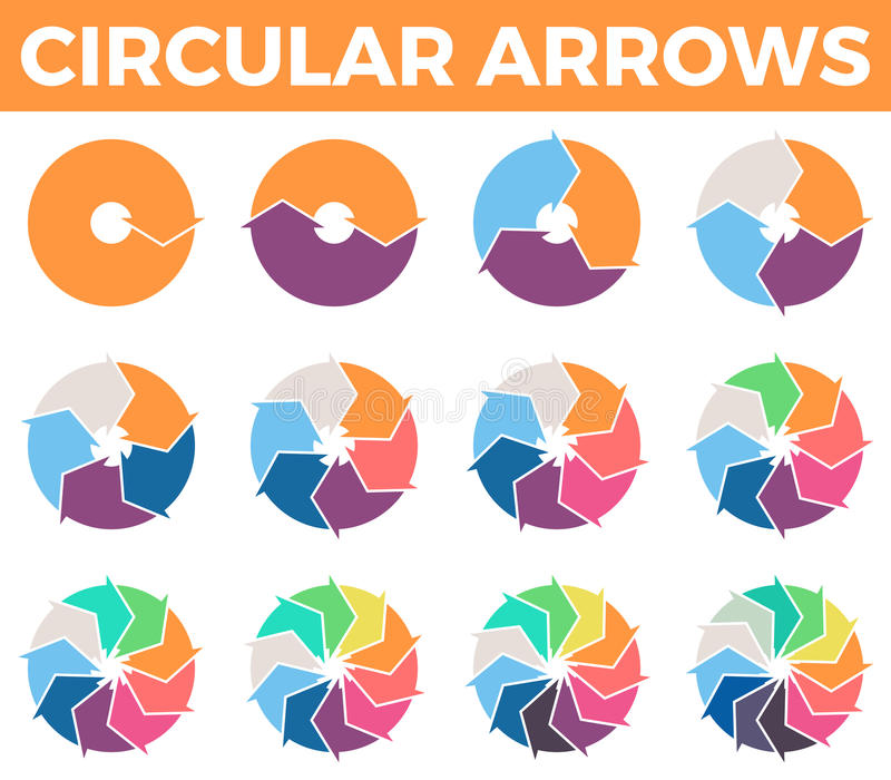 Circular arrows for infographics with 1 - 12 parts. royalty free illustration