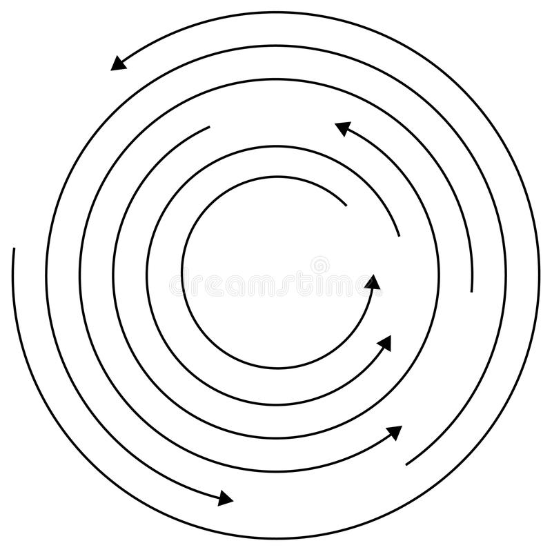 Circular arrows - Random concentric circles with arrows for twist, rotation, centrifuge, cycle concepts. Royalty free vector illustration stock illustration