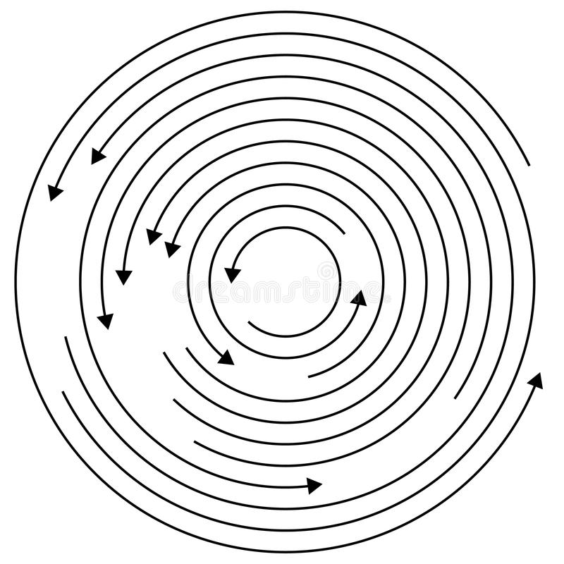 Circular arrows - Random concentric circles with arrows for twist, rotation, centrifuge, cycle concepts. Royalty free vector illustration royalty free illustration