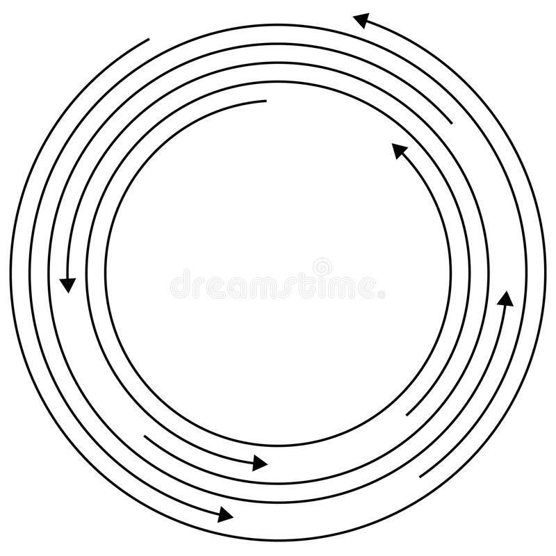 Circular arrows - Random concentric circles with arrows for twist, rotation, centrifuge, cycle concepts. Royalty free vector illustration vector illustration