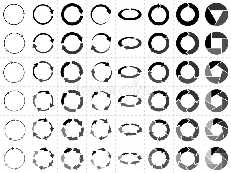 Circular arrows. Round vector icon set royalty free illustration